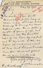 Image of Case 6001 49. Letter from the Standon Farm Home stating that J. (quote) is an imbecile (unquote)  29 May 1913  page 1