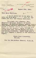 Image of Case 6024 12. Letter from the Clewer Sisters saying they have no vacancies  8 August 1941  page 1