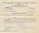 Image of Case 6024 15. Letter from the National Council of Social Service asking how much A. could pay towards her keep  15 August 1941  page 1