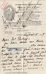 Image of Case 6351 8. Letter from Mrs Brandreth, Sec. of Rose Cottage Home For Girls to Edward Rudolf 15 August 1898  page 1
