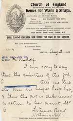 Image of Case 6424 22. Letter from Miss Snowden about A's dismissal from her situation and her character  13 August 1903  page 1