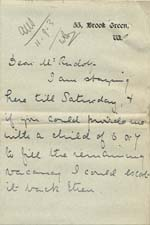 Image of Case 6424 24. Letter from Miss Snowden informing Revd Edward Rudolf of A's return to her aunt  [September 1903]  page 1