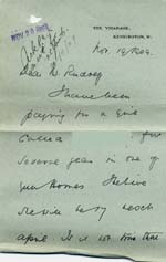 Image of Case 8587 9. Letter from the Vicar of Kensington about payments for E.  19 November 1909  page 1