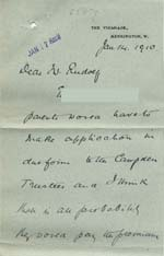Image of Case 8587 18. Letter from Prebendary P. about the Campden Trustees paying for E's apprenticeship  14 January 1910  page 1