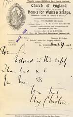 Image of Case 8587 24. Letter from St Nicholas' Home to Revd Edward Rudolf enclosing the above letter  7 March 1910  page 1