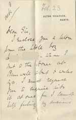 Image of Case 8645 7. Letter from Mrs W. (the Vicar's wife) enclosing H's letter and requesting that the matter be investigated  23 February 1902  page 1