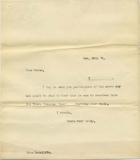 Large size image of Case 8723 5. Copy letter to Miss Ratcliffe, Honorary Secretary of the Helston Home  28 November 1901  page 1