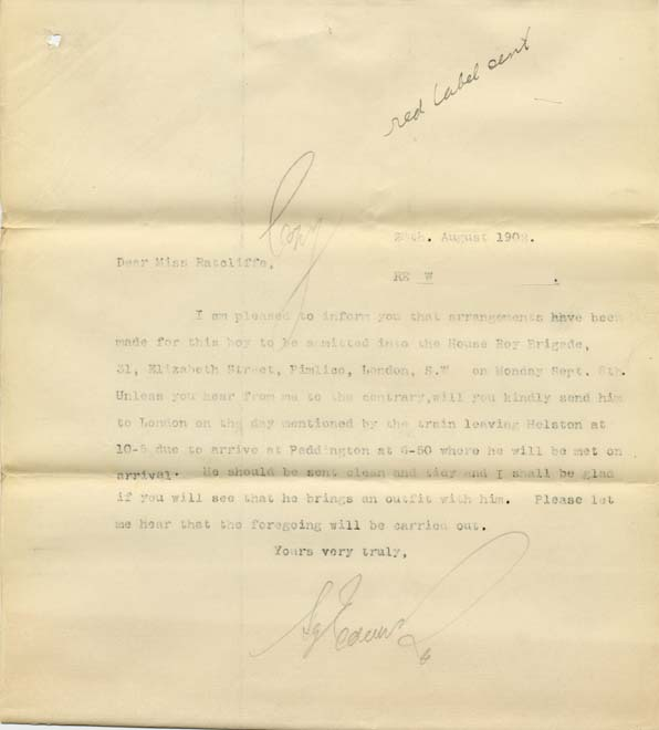 Large size image of Case 8723 17. Copy letter to Miss Ratcliffe letting her know the arrangements for W's transfer to London  28 August 1902  page 1