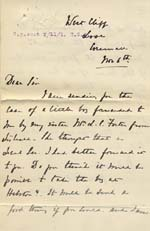 Image of Case 8723 3. Letter from Mary Penrose in support of W's case  6 November 1901  page 1