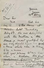 Image of Case 8723 10. Letter from Miss Foster following W's arrival at the the Helston Home  12 February 1902  page 1