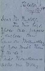 Image of Case 8723 11. Part of a letter from Miss Ratcliffe  23 August 1902  page 1
