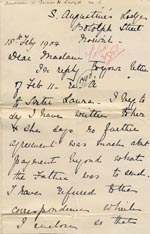 Image of Case 8790 10. Letter from Sister Frances with additional note from the Shrewsbury Home  18 February 1904  page 1