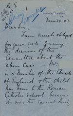 Image of Case 9126 4. Letter from Miss J. saying that E's mother was a member of the Church of England and giving more details of the case  24 June 1902  page 1