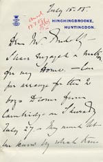 Image of Case 9146 6. Letter from the Earl of Sandwich about the arrangements for receiving the boys from Cambridge  15 July 1905  page 1