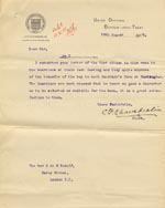 Image of Case 9146 10. Letter from the Burton-upon-Trent Union  14 August 1905  page 1