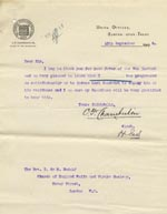 Image of Case 9146 13. Letter from the Burton-upon-Trent Union expressing pleasure at T's progress  10 September 1908  page 1