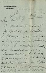 Image of Case 9308 2. Letter about J's case from Mrs O'B.  31 October 1902  page 1