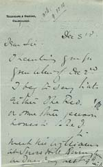 Image of Case 9308 7. Letter from Mrs O'B. about travel arrangements  3 December 1902  page 1