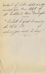 Image of Case 9309 14. Extract of letter from St Cuthbert's Home agreeing to take M.  10 March 1903  page 1