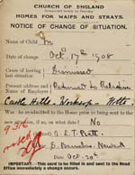 Image of Case 9315 35. Card noting that M. had been returned to her relatives  20 October 1908  page 2