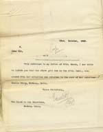 Image of Case 9316 36. Copy letter to the Worksop Union informing them that M. had been dismissed from her situation and returned to her relatives  23 October 1908  page 1
