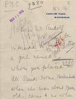 Image of Case 9380 5. Part of a letter about S's life since leaving the Birkenhead Home  14 November 195  page 1