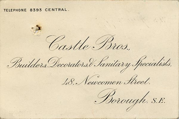 Image of Case 9402 4. Business card for Castle Brothers , Builders etc., of the Borough, Southwark  page 1
