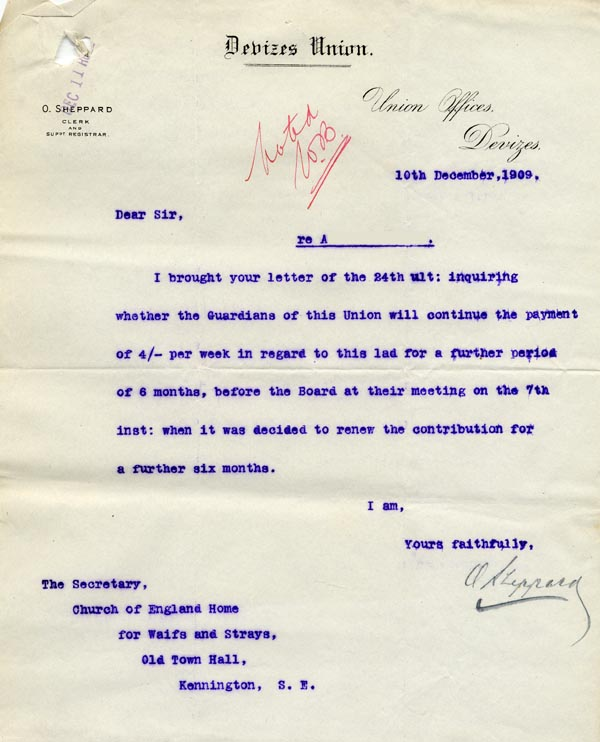 Large size image of Case 9498 18. Reply to above letter from the Devizes Union agreeing to continue payments  10 December 1909  page 1