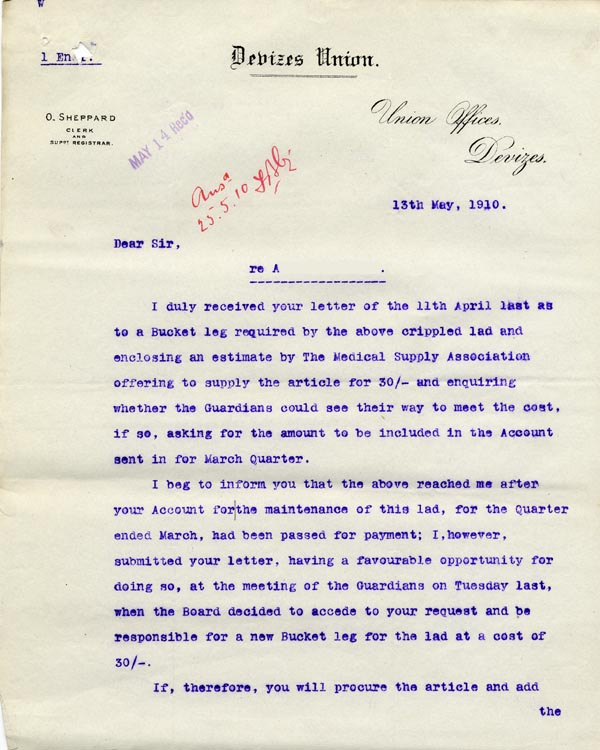 Large size image of Case 9498 24. Letter from the Devizes Union agreeing to pay for the bucket leg  13 May 1910  page 1