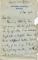 Image of Case 9498 4. Letter from Revd B. seeking help for A.  6 January 1903  page 1