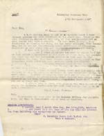 Image of Case 9498 32. Copy letter from the Islington Home regarding the difficulty of finding places for disabled boys, including a medical certificate stating that A. should not have problems following his occupation as a tailor merely because is has lost a leg  17 November 1910  page 1