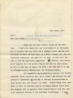 Image of Case 9498 45. Copy letter to Miss Peter discussing the possibility of a cork leg for A. and the help that may be received from the Surgical Aid Society  22 March 1911  page 1