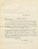 Image of Case 9498 53. Copy letter to Miss Peter informing her of the Surgical Aid Society's authority to collect (quote)Letters(unquote) for A.  1 April 1911  page 1