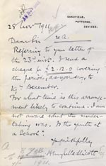 Image of Case 9498 67. Letter from Mr H.E. Medlicott enclosing a maintenance payment for A.  28 November 1911  page 1
