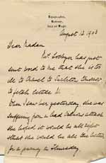 Image of Case 9627 23. Letter from Mary Mortimer seeking to postpone collecting J. for a few days  13 August 1903  page 1