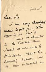 Image of Case 9649 3. Letter from the wife of the Incumbent of St George's, Edgbaston  10 June 1903  page 1
