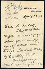 Image of Case 9653 2. Letter from Miss M. accompanying the application  25 April 1903  page 1