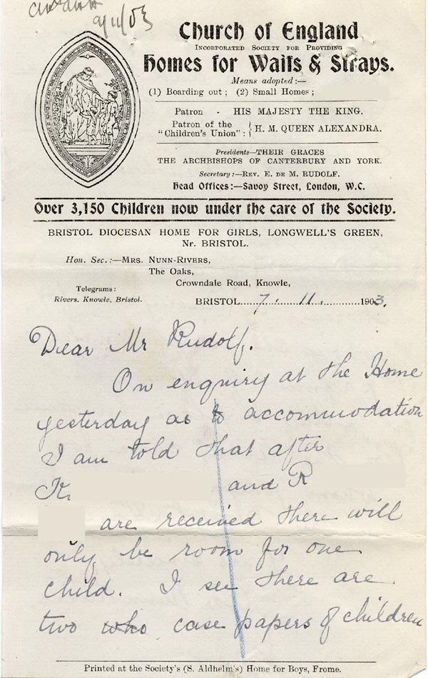 Large size image of Case 9838 2. Letter from Mrs Nunn-Rivers, the Honorary Secretary of the Bristol Home mentioning maintenance payments for M.  7 November 1911  page 1