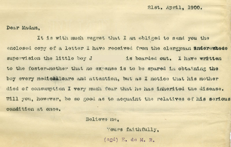 Letter from case file 6001 regarding a child with suspected case of tuberculosis