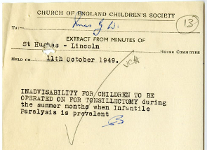 Note about tonsillectomies for children from St Hugh's Home, Lincoln