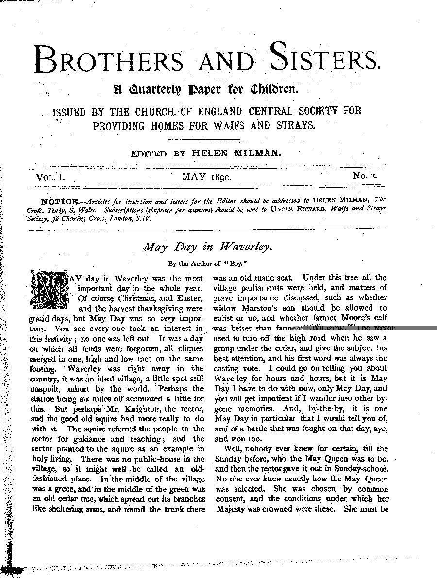 Brothers and Sisters May 1890 - page 1