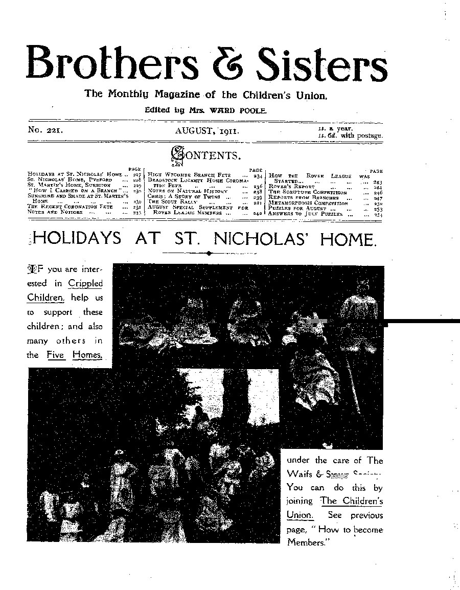 Brothers and Sisters August 1911 - page 1