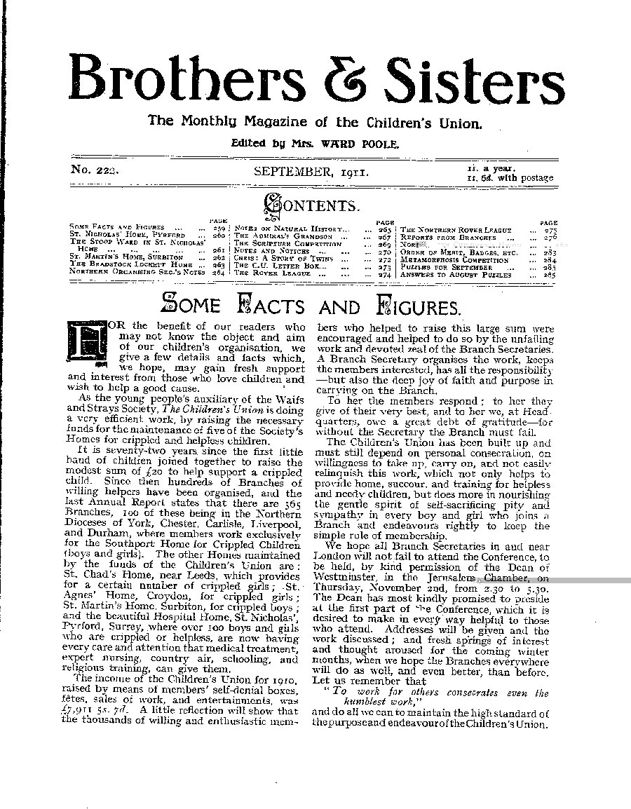 Brothers and Sisters September 1911 - page 1