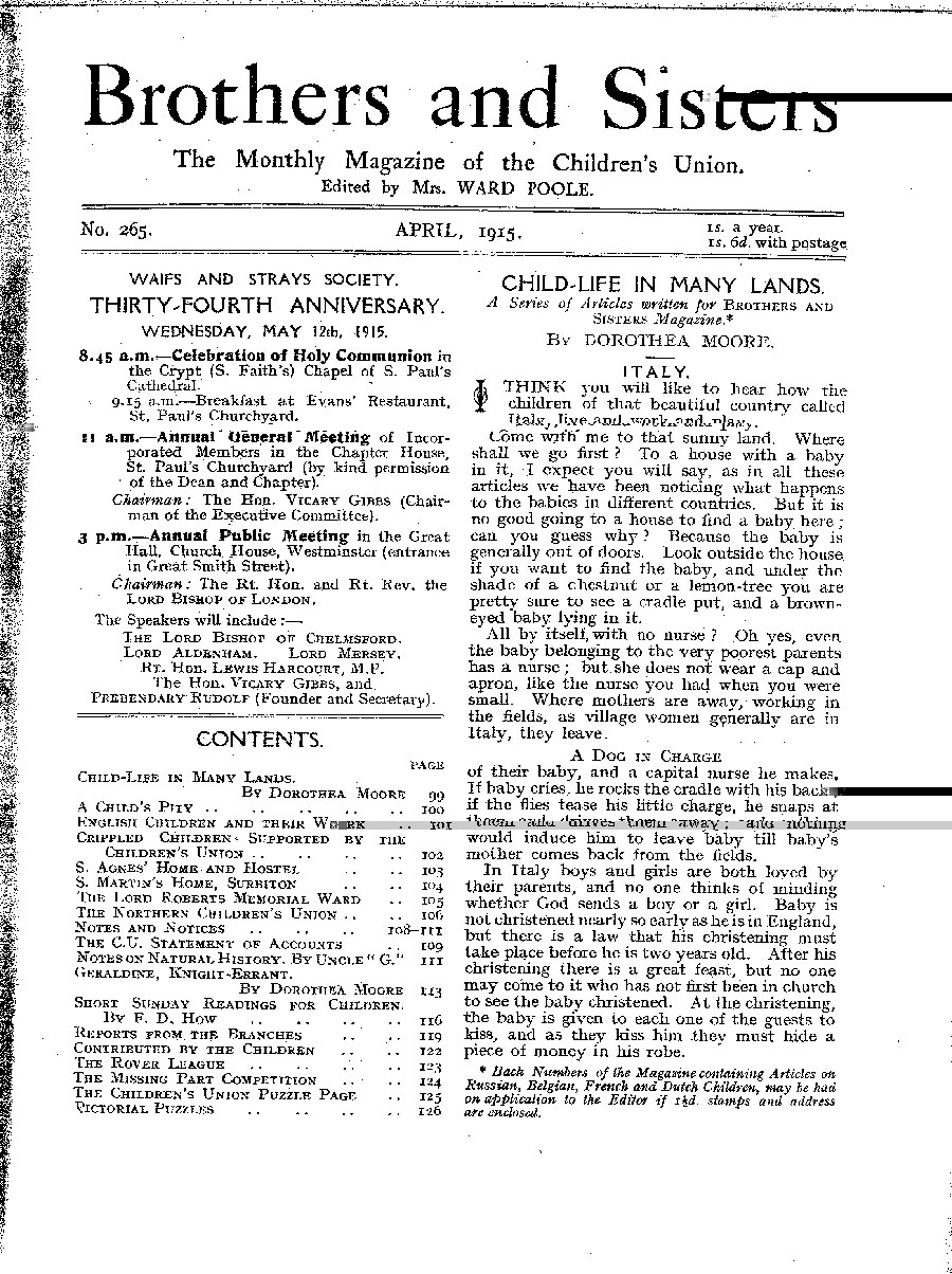 Brothers and Sisters April 1915 - page 1