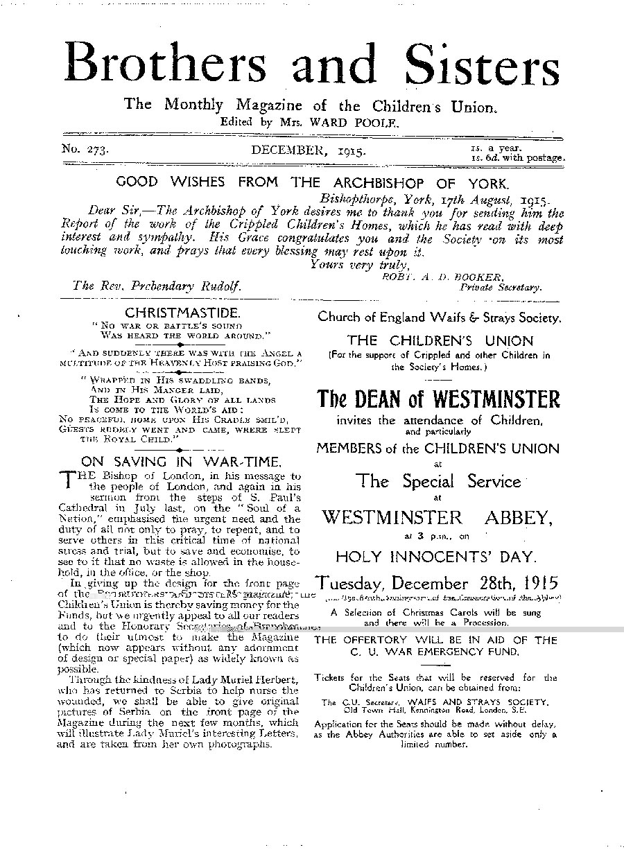 Brothers and Sisters December 1915 - page 1