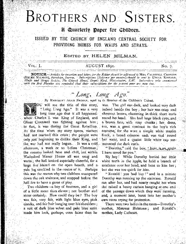 Brothers and Sisters August 1891 - page 1