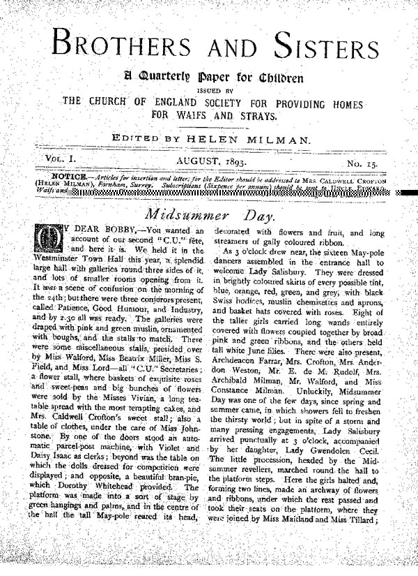 Brothers and Sisters August 1893 - page 1
