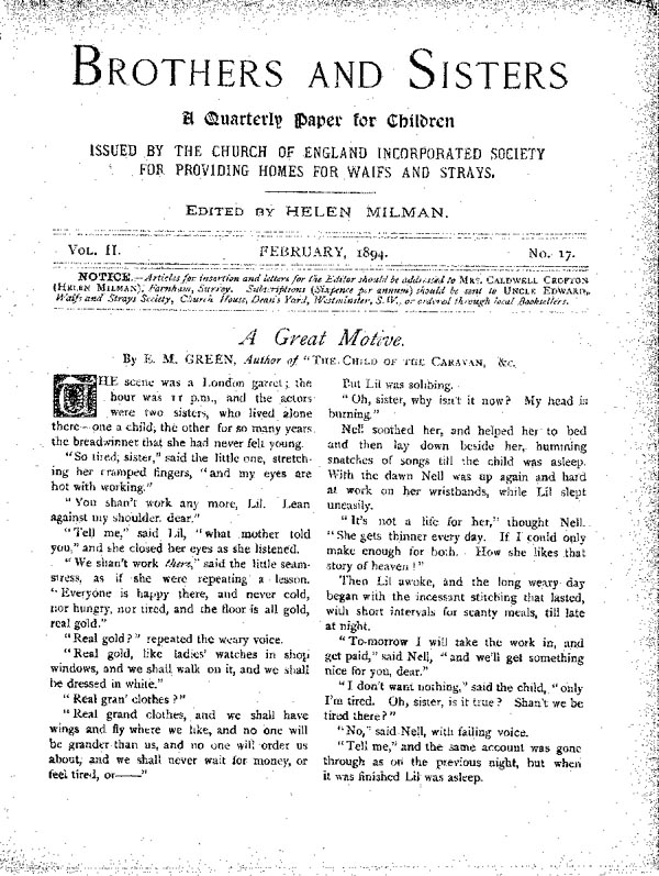 Brothers and Sisters February 1894 - page 1