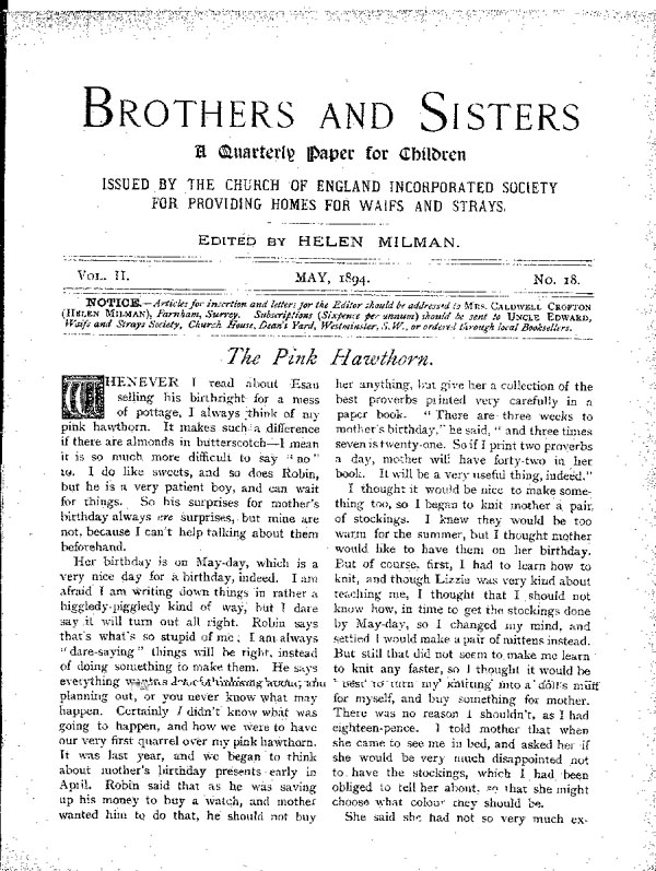 Brothers and Sisters May 1894 - page 1