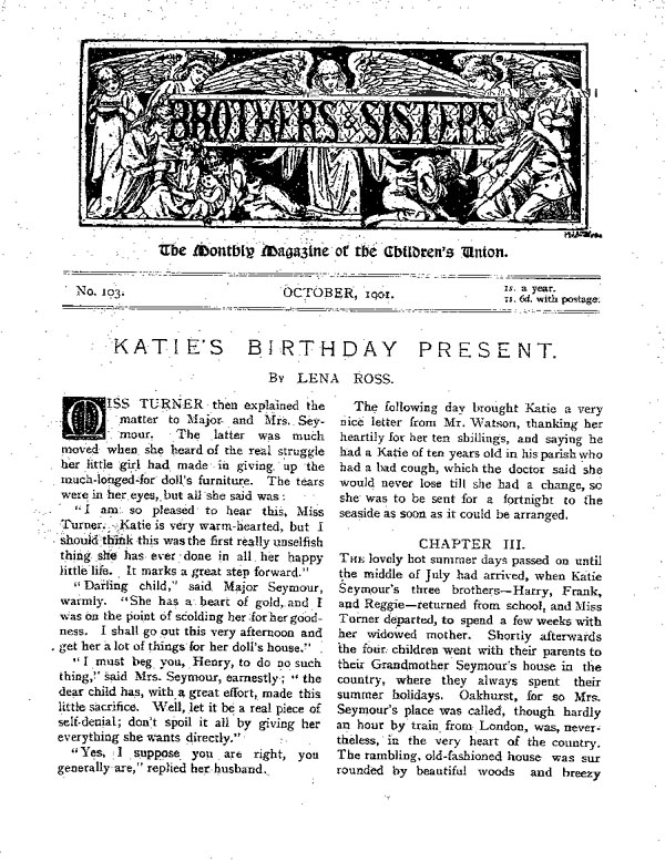 Brothers and Sisters October 1901 - page 1